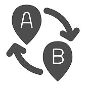 From point A to point B solid icon, Navigation concept, Two pointers with arrows sign on white background, Path from point A to point B and back with map pointers icon glyph style. Vector