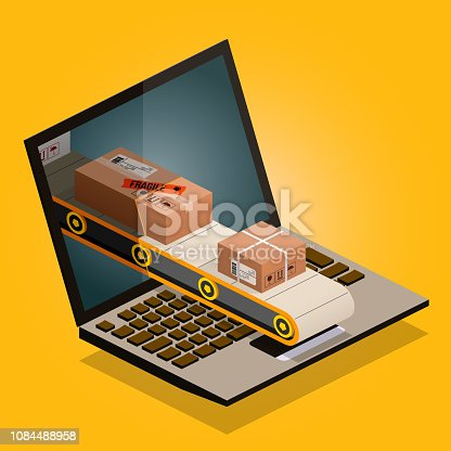 production line on computer screen - isometric