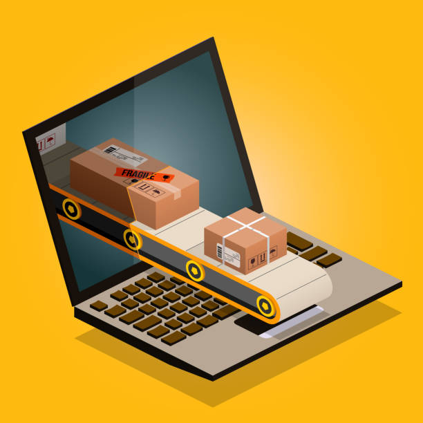 üreticiden tüketiciye - online shopping stock illustrations
