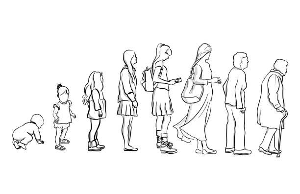 Von Younger zu älter – Vektorgrafik