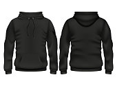 Front and back black hoodie vector template