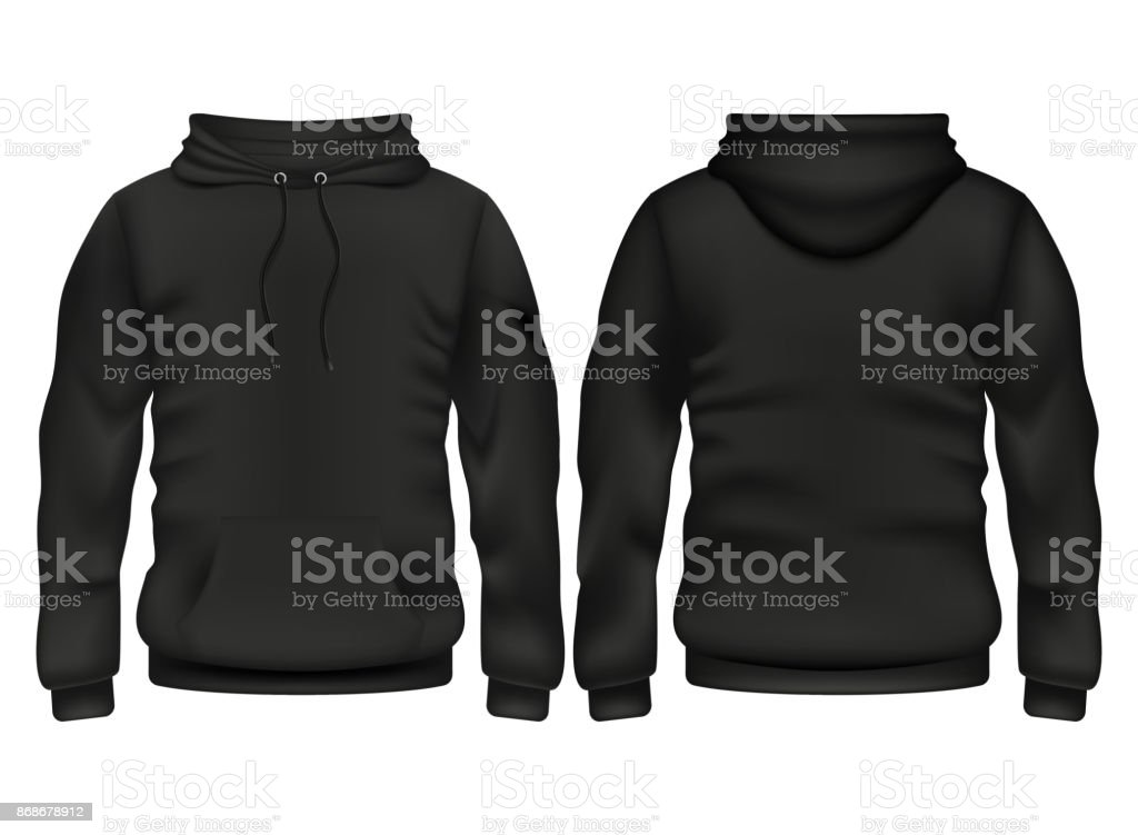 Front and back black hoodie vector template векторная иллюстрация