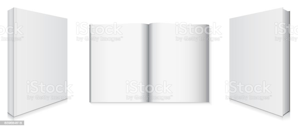 Front and Back Book Covers and Blank Pages vector art illustration