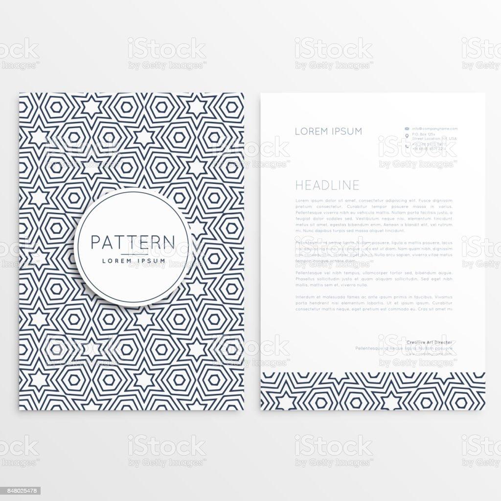 Vorderen Und Hinteren Briefkopf Design Mit Muster Formen Stock