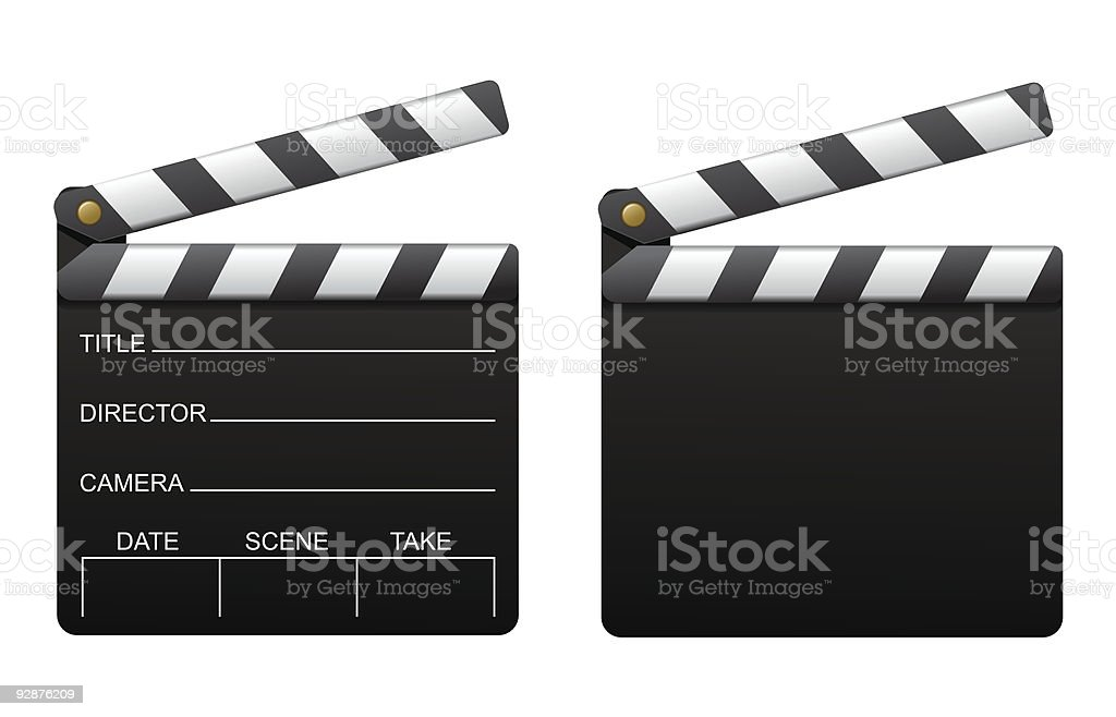 Front and back of a clapperboard vector art illustration