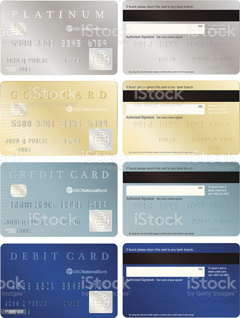 Front and back of four credit cards in a variety of colors royalty-free stock vector art