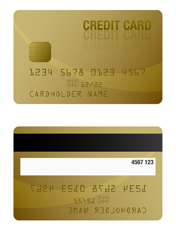 Front And Back Of Gold Colored Credit Card Template Stock