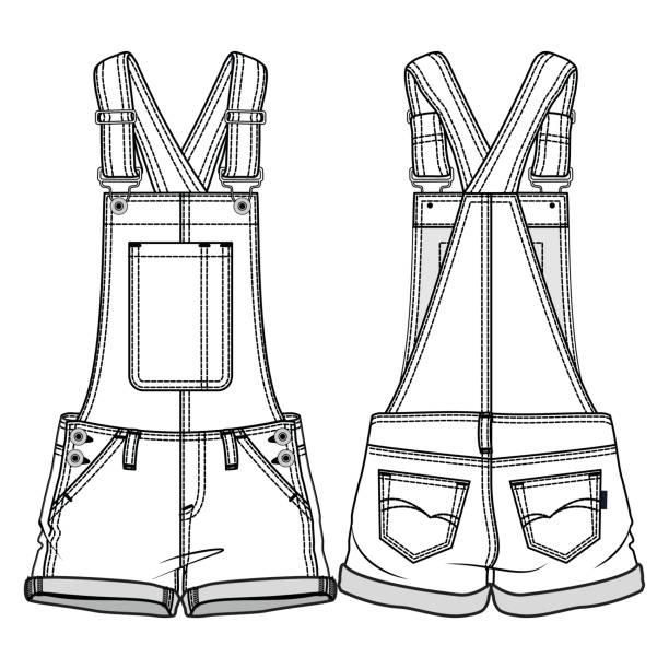 Royalty Free Girls In Denim Shorts Drawing Clip Art