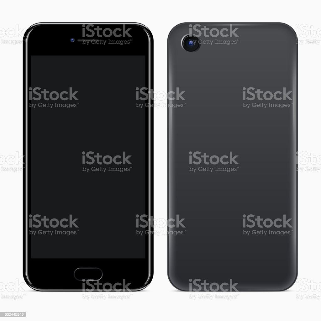 Front and Back Sides of Mobile Phone vector art illustration