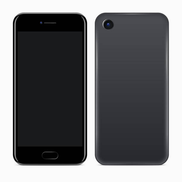 Front and Back Sides of Mobile Phone Mobile Phone. Vector realistic illustration of front and back sides of smartphone back stock illustrations