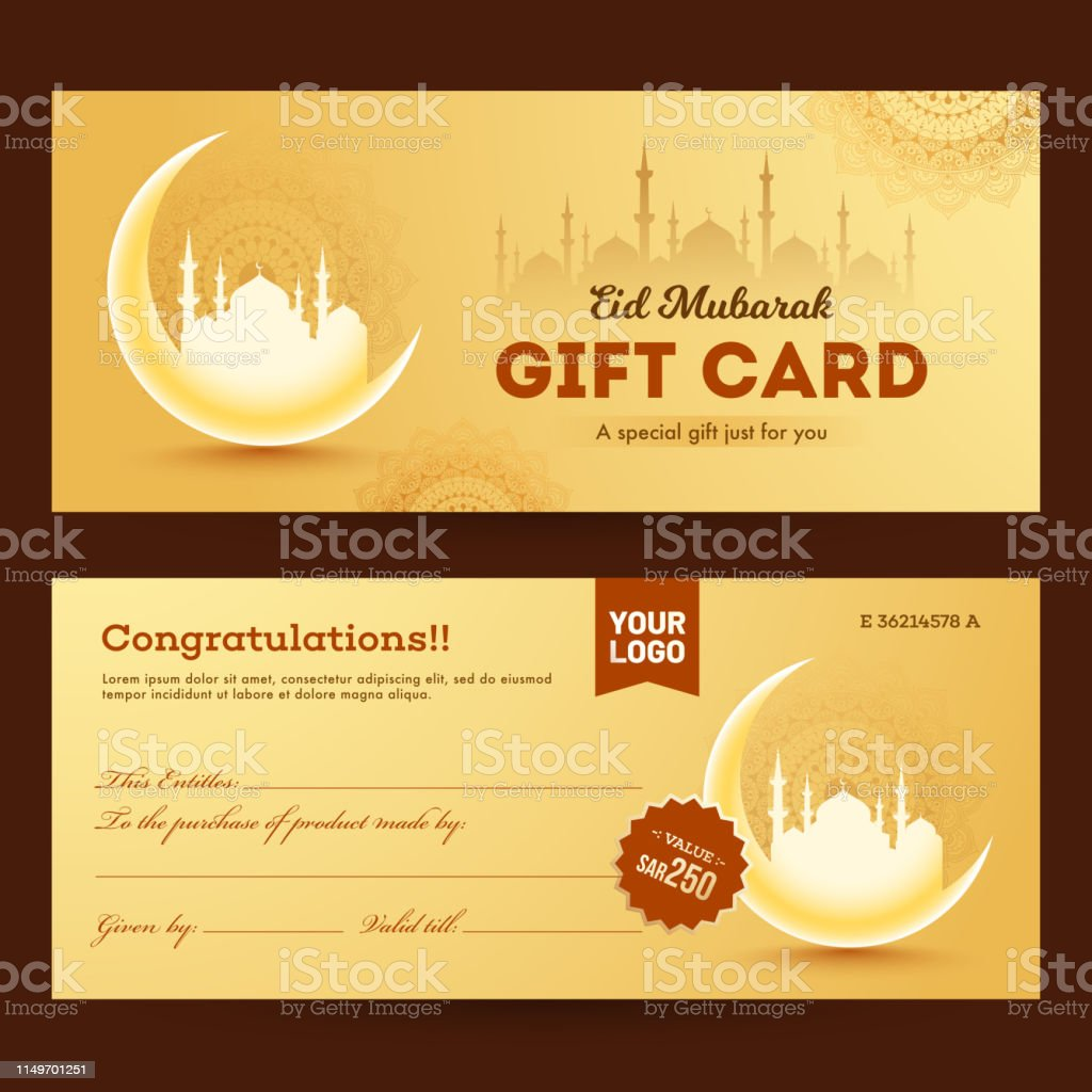 Front And Back View Of Gift Card For Eid Mubarak Festival Celebration Stock Illustration Download Image Now Istock