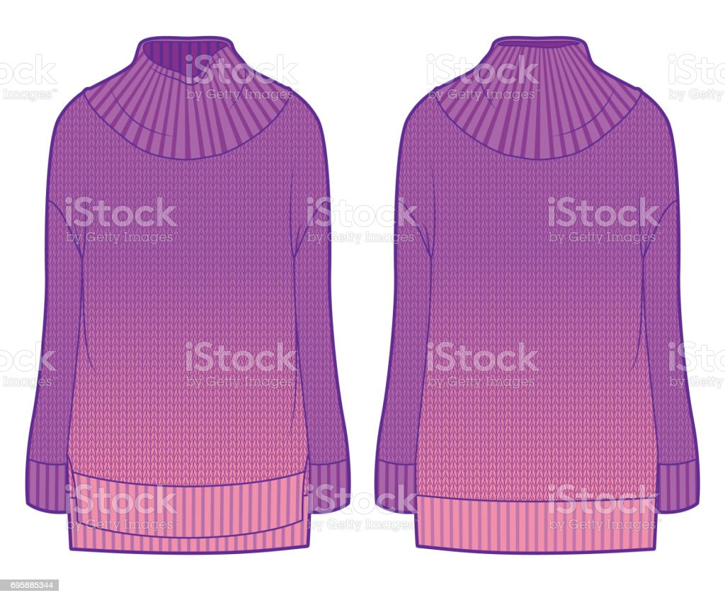 buy popular f1ba3 fcd60 Vorder Und Rückseite Blick Auf Rosa Strickpullover Mit Farbverlauf Stock  Vektor Art und mehr Bilder von Color Gradient
