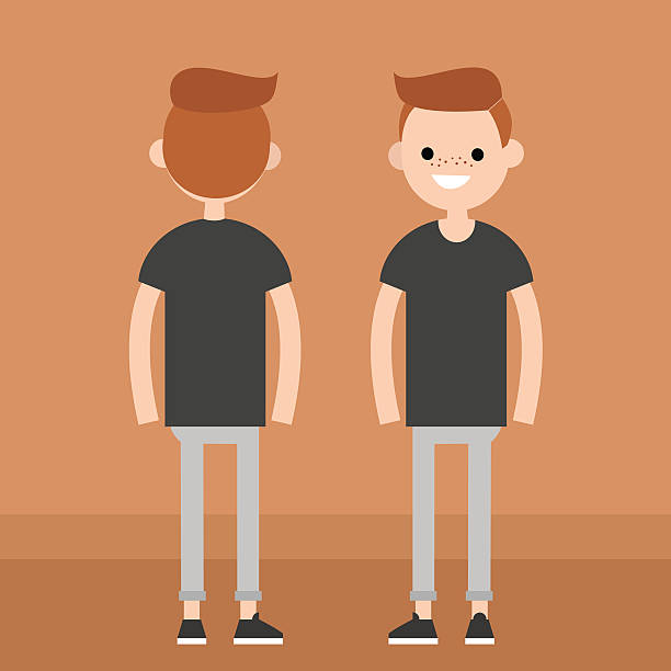 Front and rear view of a redhead guy flat editable vector illustration looking at camera stock illustrations