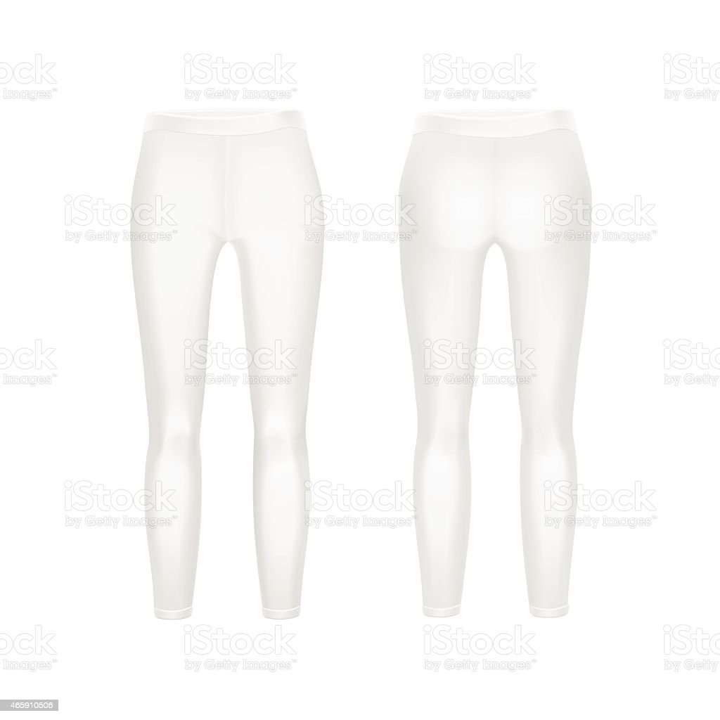 Front and rear view of white leggings isolated on white vector art illustration