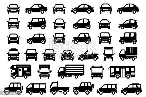 シンプルな車の正面と横(ブラックシルエット)