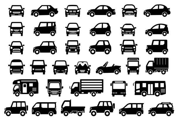 illustrazioni stock, clip art, cartoni animati e icone di tendenza di davanti e lato di una semplice auto (silhouette nera) - auto