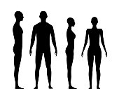 Front and side view human body silhouette of an adult man and a women.