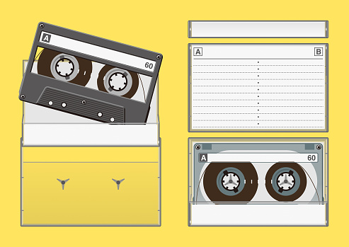 Front, back and side view of music cassette tape cases