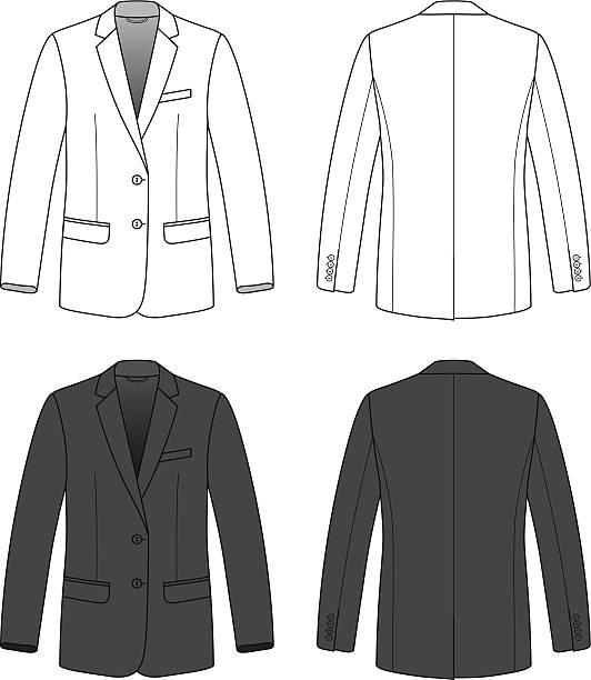 stockillustraties, clipart, cartoons en iconen met front, back and side views of blank blazer. - men blazer