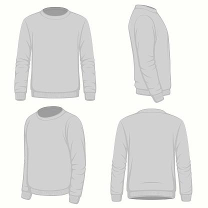 Front, back and side views of blank  hoodie sweatshirt