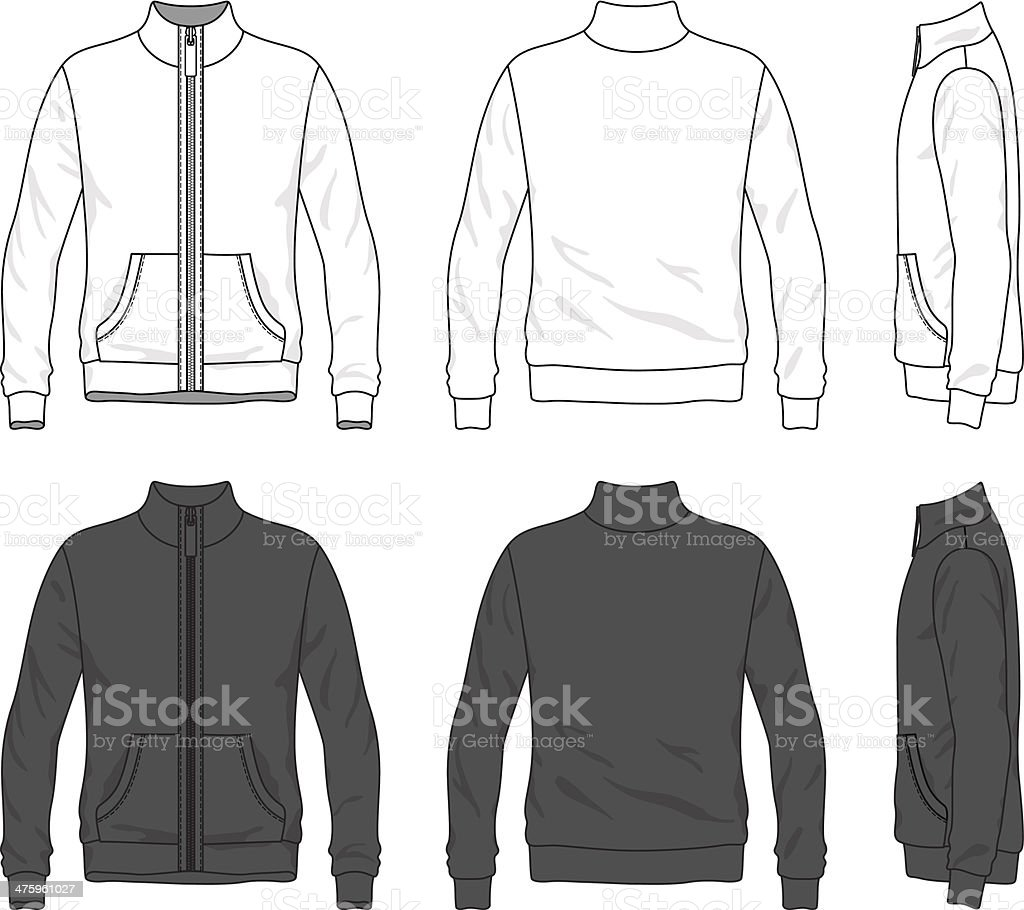 Front, back and side views of blank jacket with zipper vector art illustration