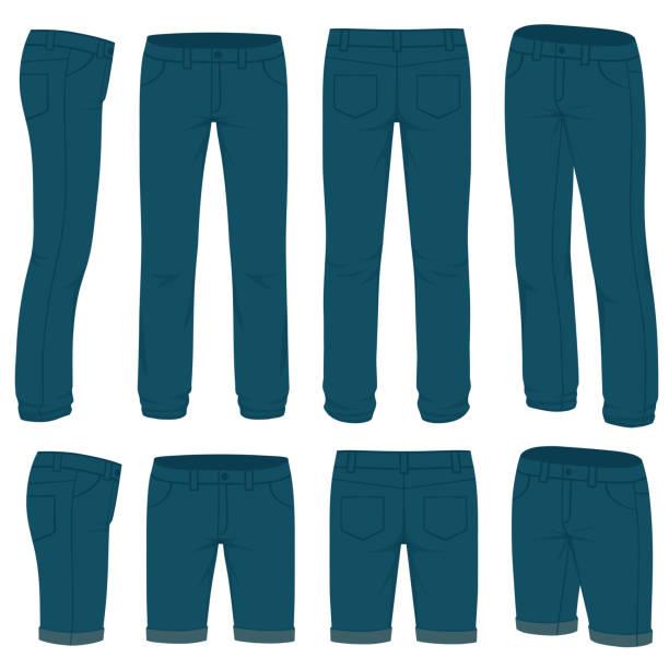 ilustrações, clipart, desenhos animados e ícones de à frente, atrás e vistas do lado de jeans em branco - calça comprida