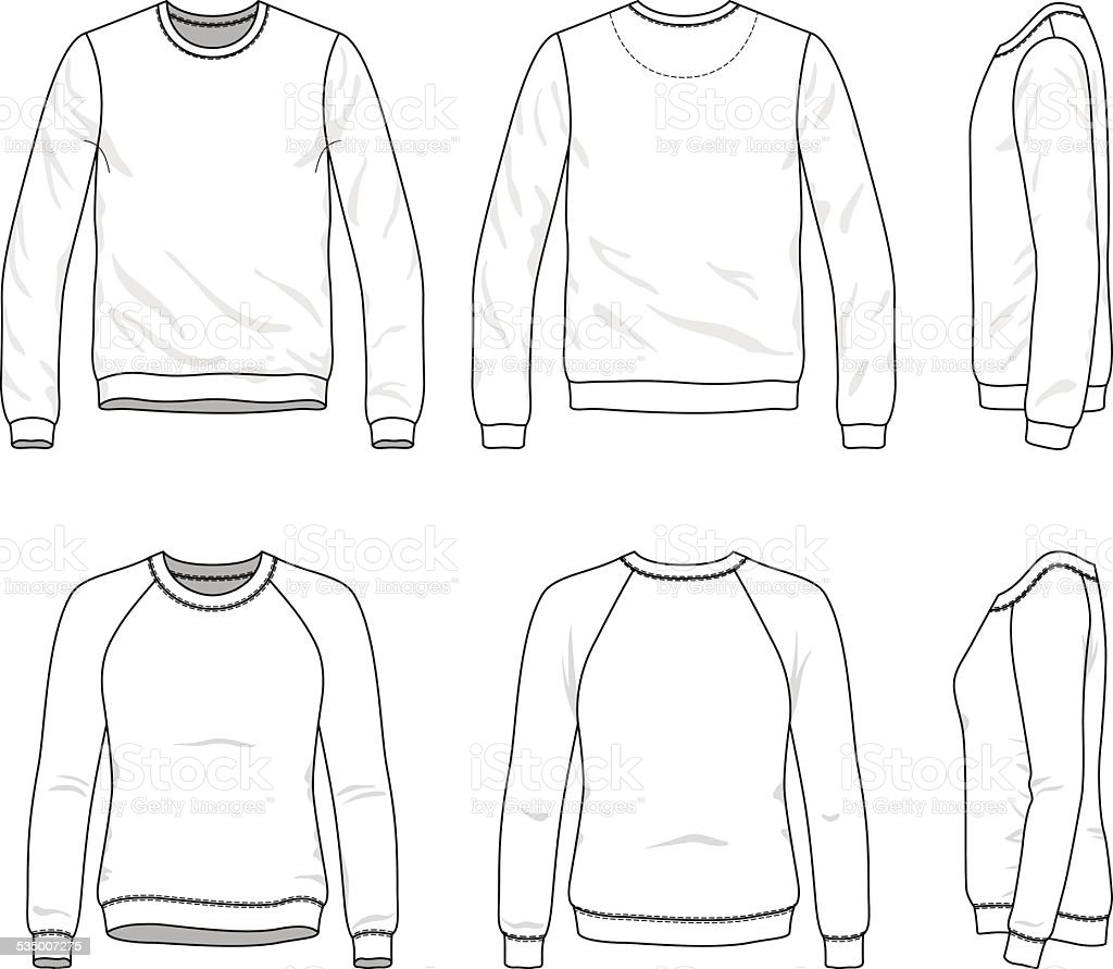 Line Drawing Jacket : Front back and side views of blank sweatshirt stock vector