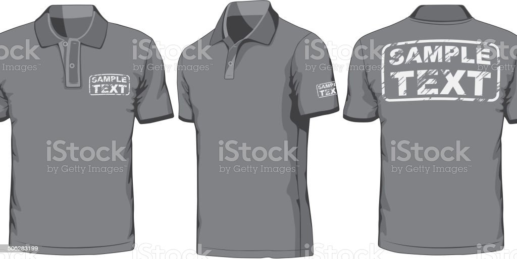 Front, back and side views of polo-shirt vector art illustration