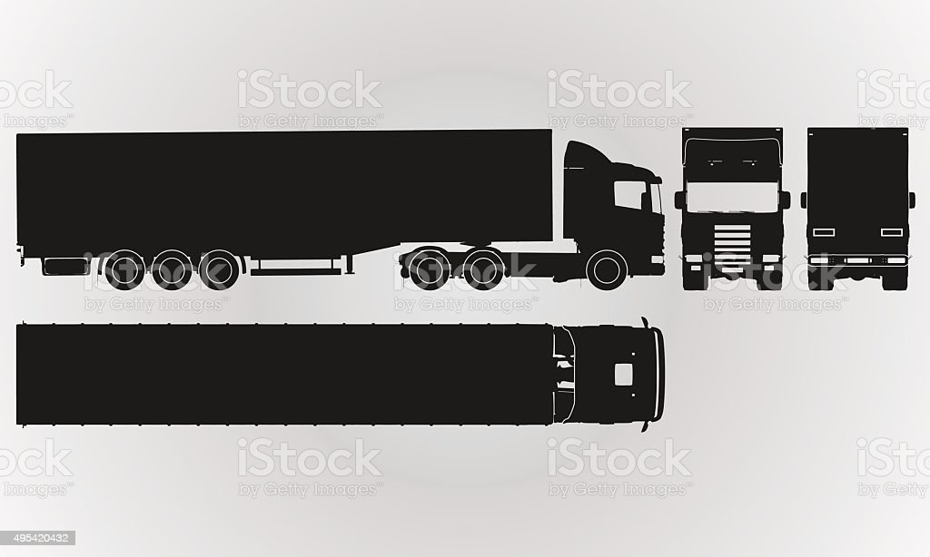 Front back top and side truck with load trailer projection stock front back top and side truck with load trailer projection royalty free front malvernweather Gallery