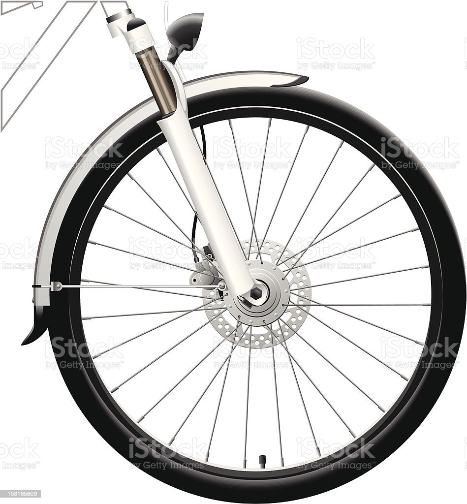 Front Bike Wheel with Dynamo Hub vector art illustration