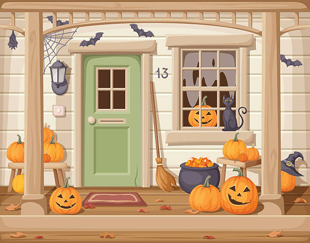 Front door and porch decorated for Halloween. Vector illustration. Vector illustration of a front door and porch with pumpkins decorated for Halloween. porch stock illustrations