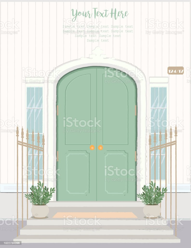 Front Door House Exterior Entrance Web Banner Template Background
