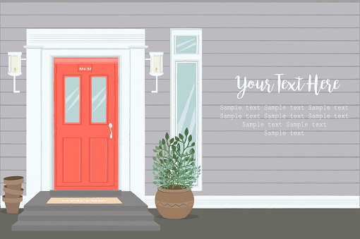 Front Door House Exterior Entrance. Web banner template background