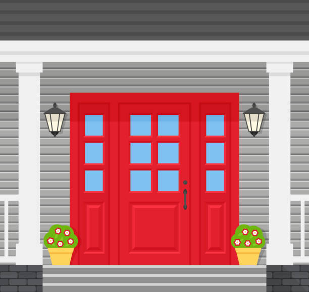 Front door, porch house. Vector illustration in flat design. Front door house. Vector. Home porch with red door, lanterns, stairs and plants. Gray facade. Building entrance, doorstep. Modern outside architecture in flat design. Cartoon illustration porch stock illustrations
