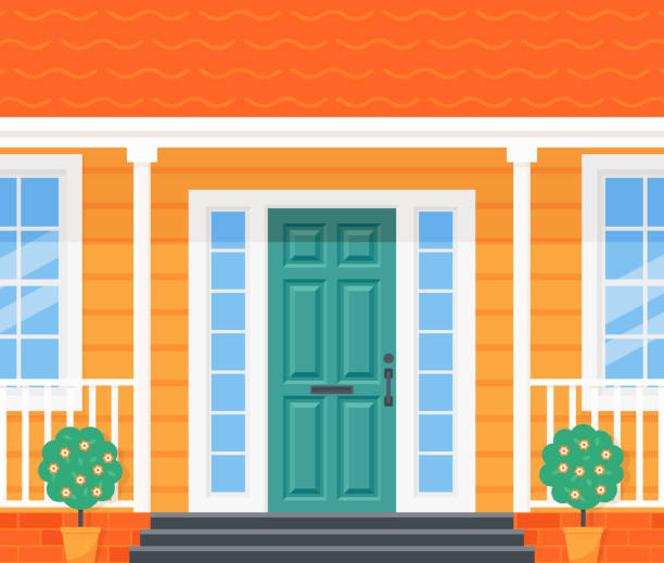Front door, porch house. Vector illustration in flat design. Front door house. Vector. Home porch with door, stairs, windows and plants. Yellow facade. Building entrance, doorstep. Modern outside architecture in flat design. Cartoon illustration porch stock illustrations