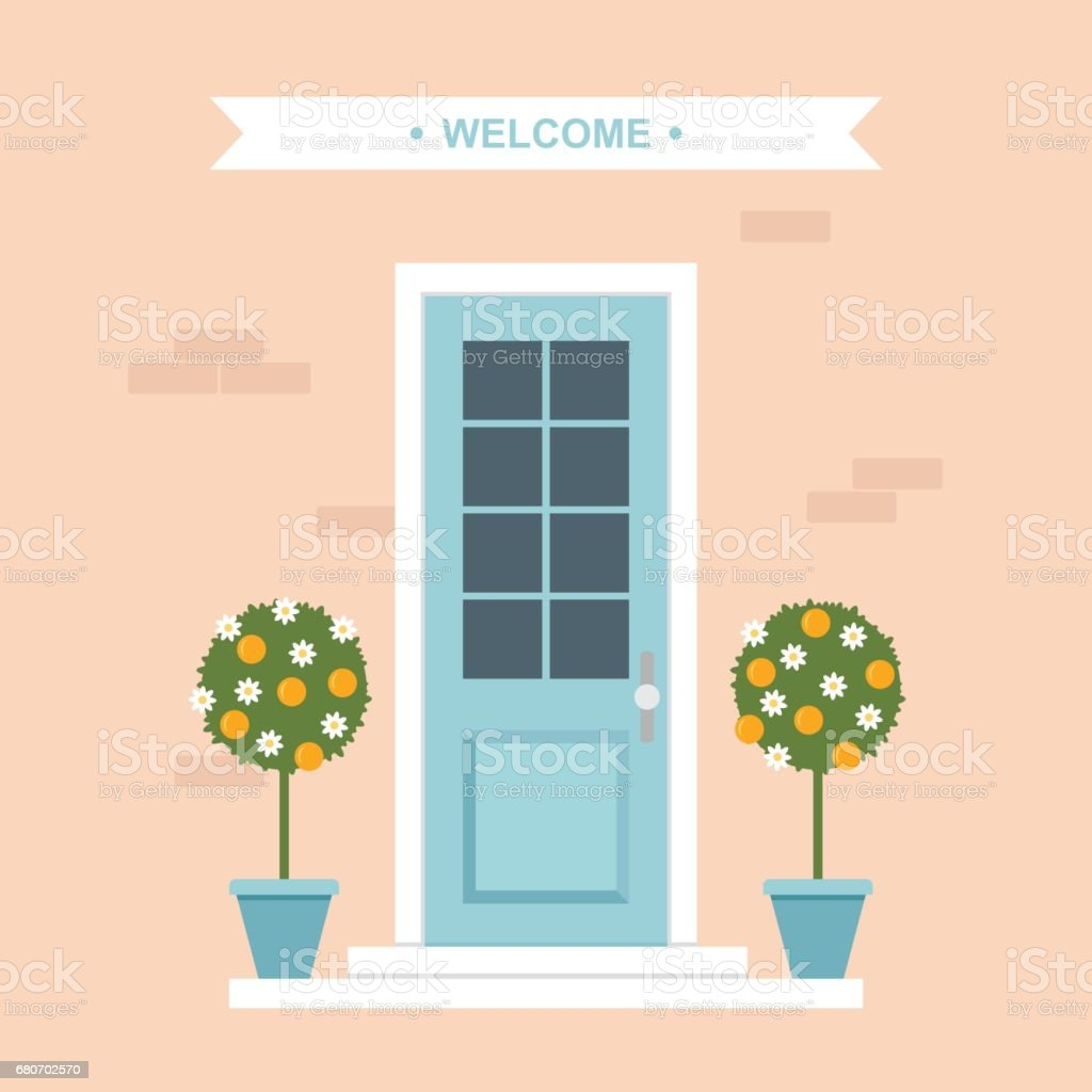 Front door with orange trees house entrance vector art illustration