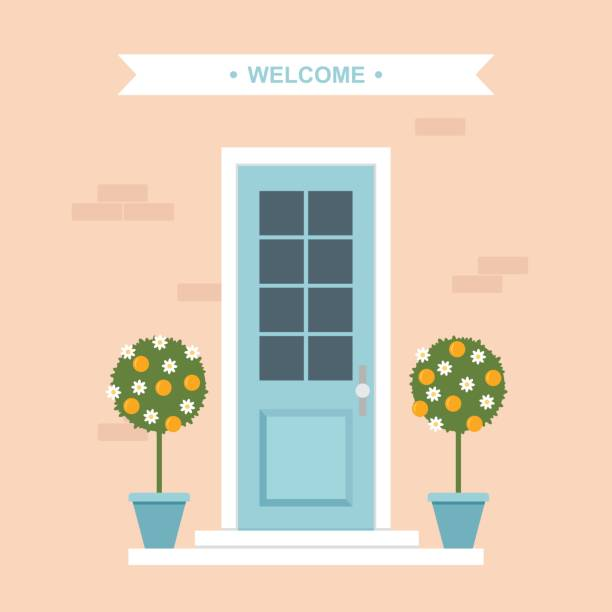 Front door with orange trees house entrance Vector illustration of house entrance door with potted orange trees. front door stock illustrations