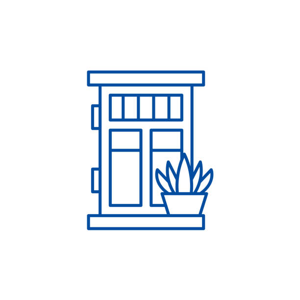 Front door with plant line icon concept. Front door with plant flat  vector symbol, sign, outline illustration. Front door with plant line concept icon. Front door with plant flat  vector website sign, outline symbol, illustration. front stoop stock illustrations