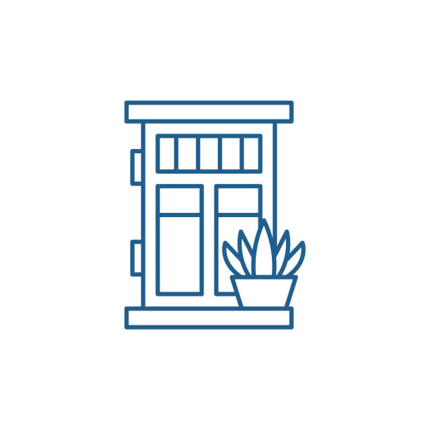 Front door with plant line icon concept. Front door with plant flat  vector symbol, sign, outline illustration. Front door with plant line concept icon. Front door with plant flat  vector website sign, outline symbol, illustration. front door stock illustrations