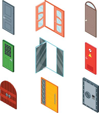 Front Doors Set Isometric View. Vector