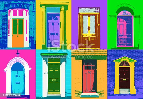 A mix of door types created in an Andy Warhol or Pop Art style