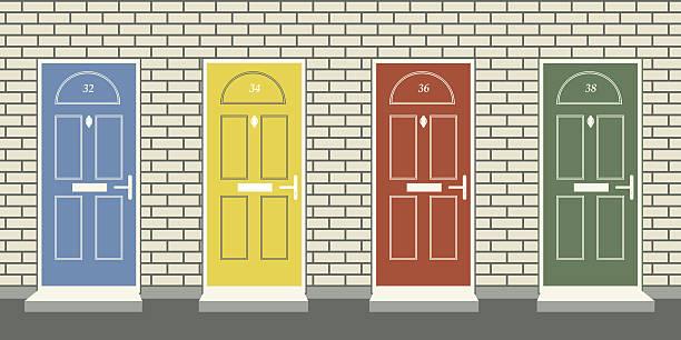 Front doors Editable vector illustration of four colorful front doors front door stock illustrations