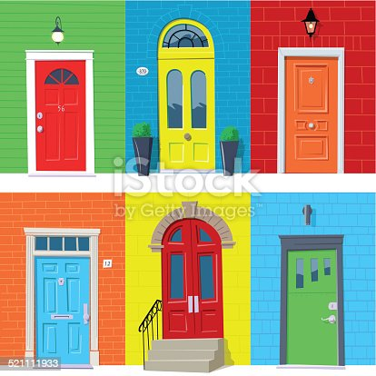 Six colorful closed front doors. Global colors.