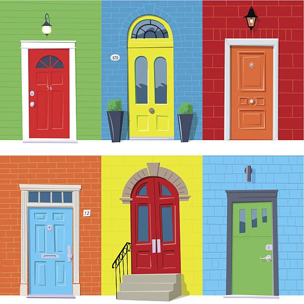 Front Doors Six colorful closed front doors. Global colors. door stock illustrations