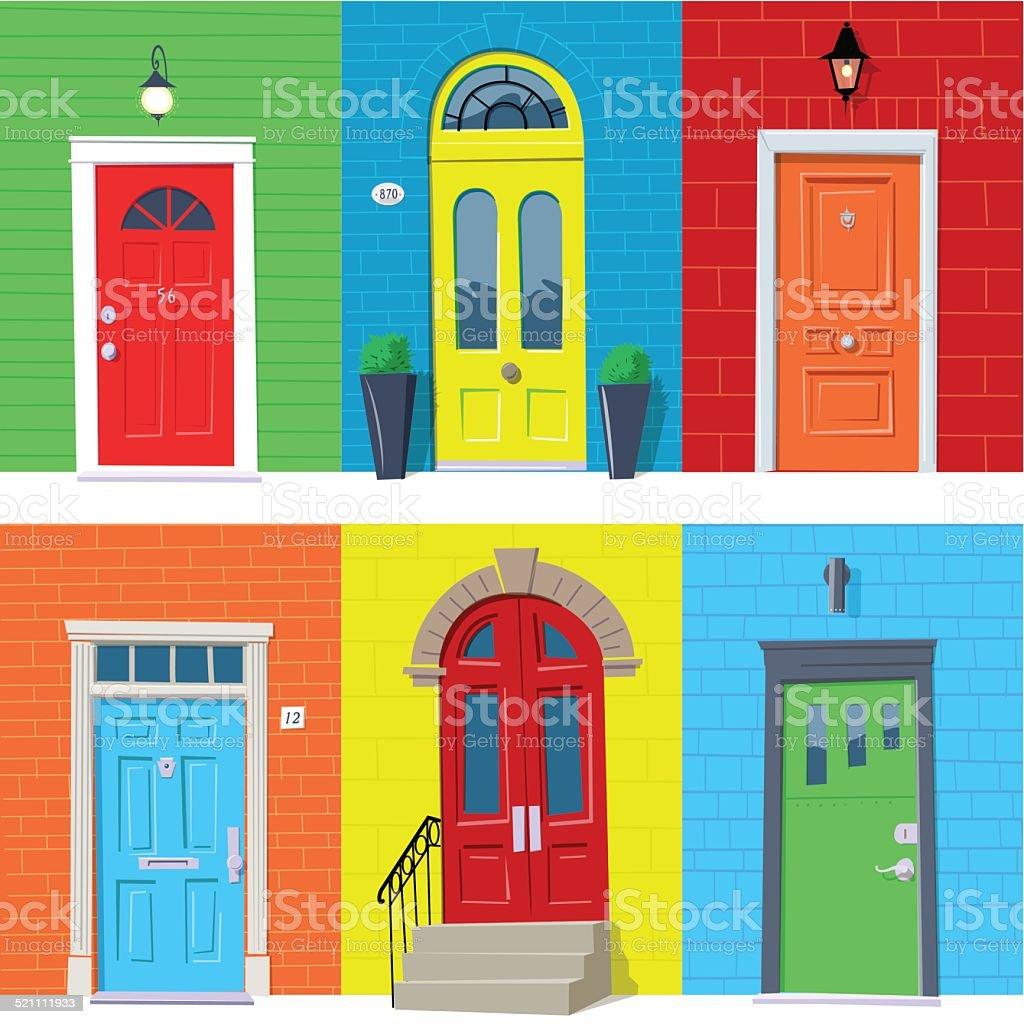 Front Doors vector art illustration