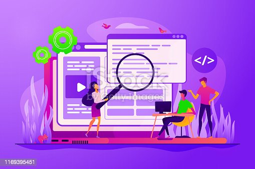 Coders and programmers team, web designers characters creating content. Front end developer, website interface, coding and programming concept. Vector isolated concept creative illustration