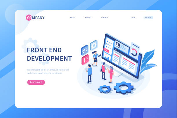front end development Front end development concept with characters. Can use for web banner, infographics, hero images. Flat isometric vector illustration isolated on white background. broadcast programming stock illustrations