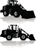 """Two tight silhouette illustrations of Front End Loader - Construction Vehicle. Layered for easy edits. Check out my """"Construction Vector"""" light box for more."""