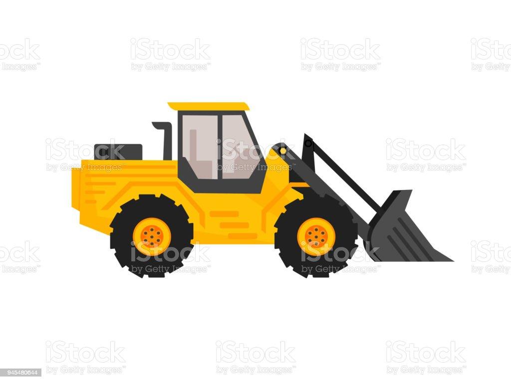 Front end loader flat cartoon style. construction equipment. excavator machine vector illustration. vector art illustration