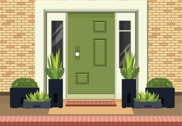 Front Entrance Door Vector illustration of a facade of a house bricks lining an entrance door to a building a home garden on the doorstep into the building front door stock illustrations